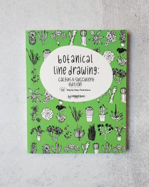 botanical line drawings cactus book