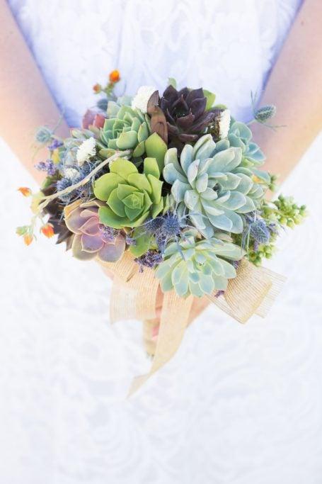 colorful succulent bridal bouquet wedding
