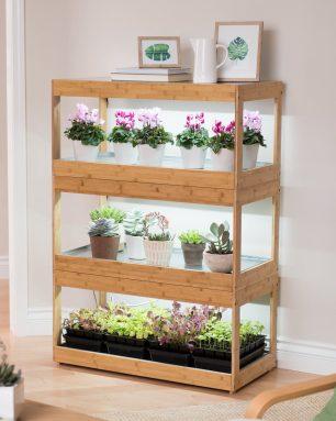 gardeners supply bamboo plant shelf