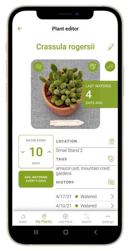succulent tracker app plant editor view crassula watering schedule