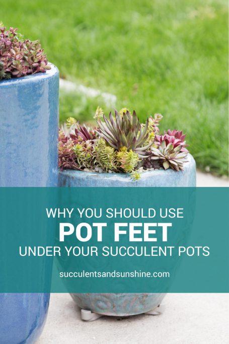 pot feet under large blue planters