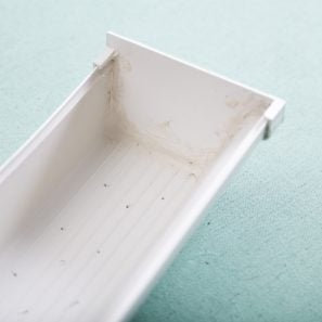 seal rain gutter planter with caulk to keep it together