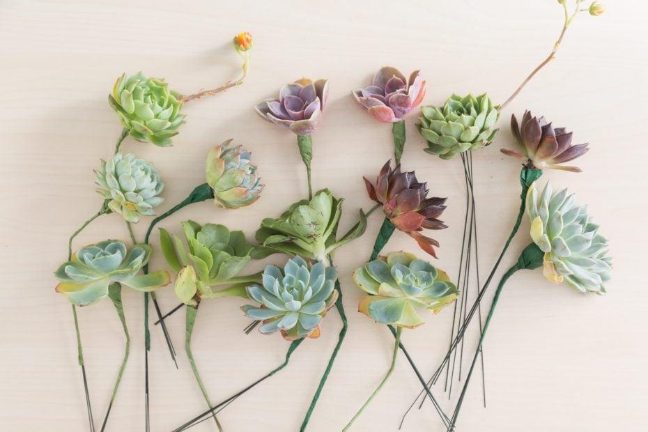 succulent cuttings wire stems bridal floral bouquet wedding