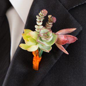 bright happy succulent boutonniere wedding diy tutorial red pink orange green