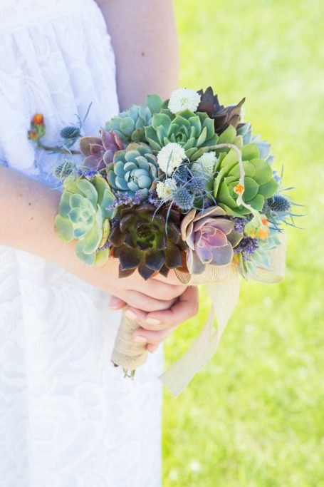 bridal bouquet made with succulent cuttings save cuttings to plant in arrangement
