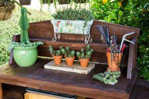 succulent potting bench