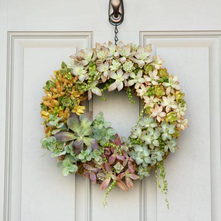 succulent wreath hanging on door