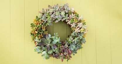 wreath made with succulents sphagnum moss form