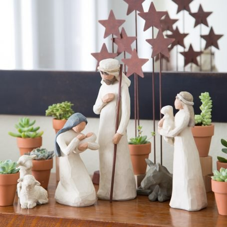 christmas nativity scene decorated with succulents