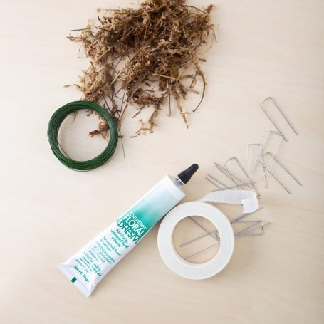 moss glue wire pins tape succulent project supplies