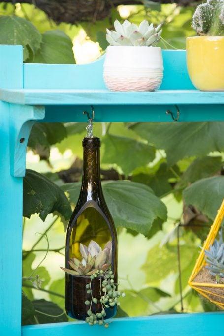 wine bottle planter lula's garden string pearls succulents planter table