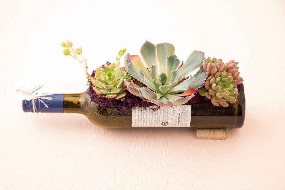 wine bottle planter succulents centerpiece party decoration