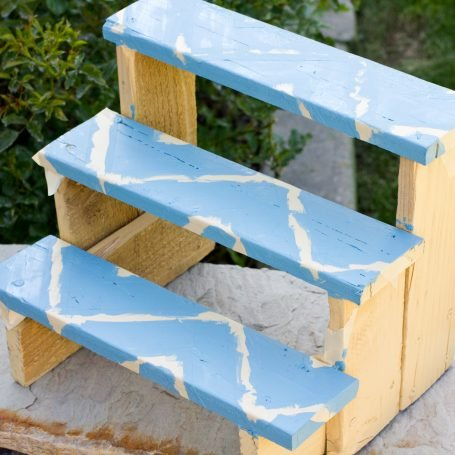 painted wood plant riser for succulents