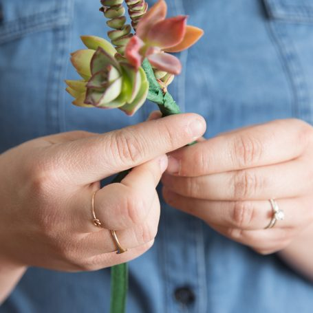 wrap floral tape around wire to hide stems succulent boutonniere diy